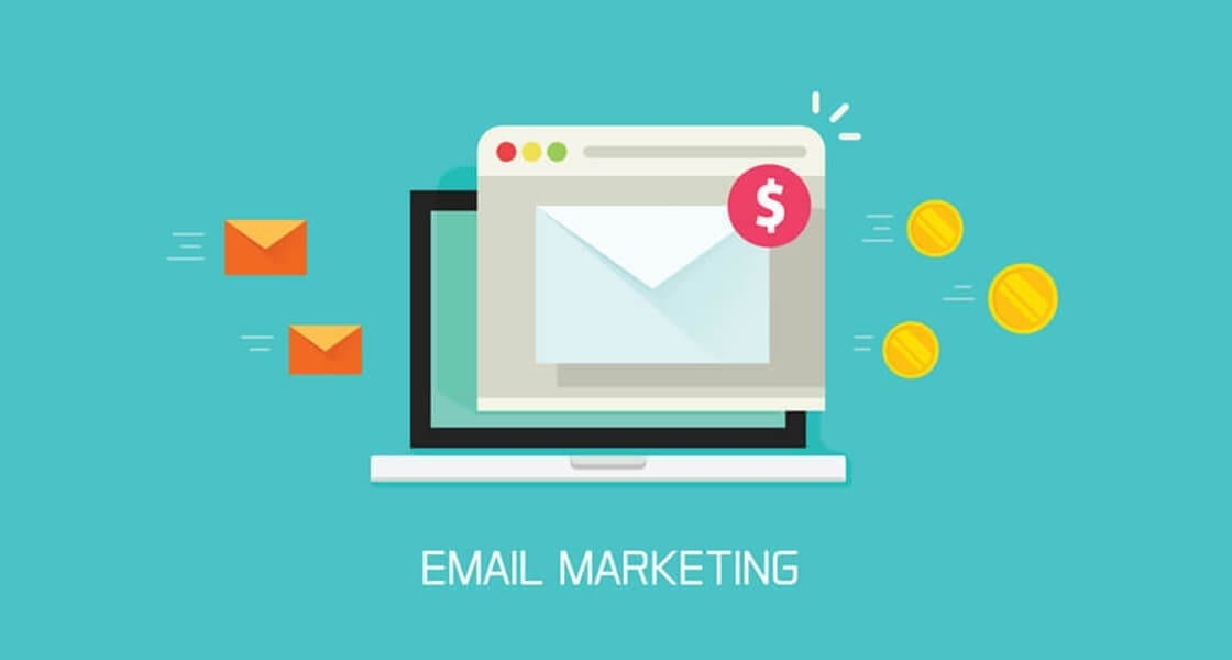 Email marketing campaign vector, flat laptop computer screen with browser window and newsletter conversion to money email marketing - Email marketing1120x600px - Why your business needs EDM in 2018
